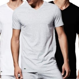 Lacoste Essentials Supima Cotton 3-Pack V-Neck T-Shirt, Black/Grey/White