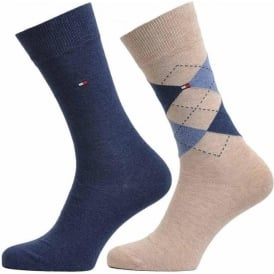 Tommy Hilfiger Check 2 Pack Cotton Logo Socks, Mid Summer