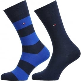 Tommy Hilfiger Rugby 2 Pack Cotton Logo Socks, Tommy Classic