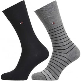 Tommy Hilfiger Breton Stripe 2 Pack Cotton Logo Socks, Mid Grey/Black