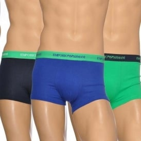 Emporio Armani Fashion Multipack Stretch Cotton 3-Pack Trunk, Marine/Green/Blue