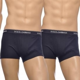 Dolce & Gabbana 2-Pack Day By Day Stretch Cotton Regular Boxer, Navy