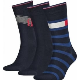 Tommy Hilfiger 3 Pack Boxed Cotton Logo Socks, Blue