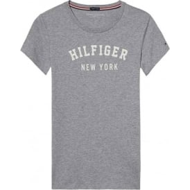 Tommy Hilfiger Women Organic Cotton Short Sleeved Crew Neck T-Shirt, Grey