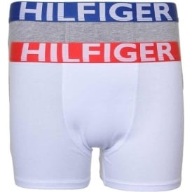 Tommy Hilfiger Boys 2 Pack Bold Boxer Trunk, White / Grey