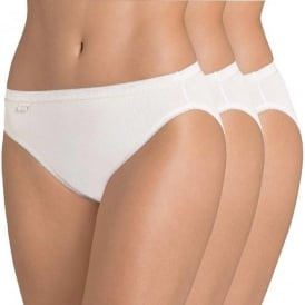 Sloggi Women Basic+ 3 Pack Tai Gold Limited Edition Brief, White
