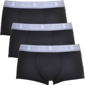 Just Cavalli Cotton Stretch 3-Pack Boxer Trunks, Black