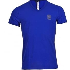 Versace Iconic Stretch Cotton V-Neck T-Shirt, Blue