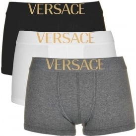 Versace Apollo 3-Pack Low Rise Trunk, Black / Grey / White