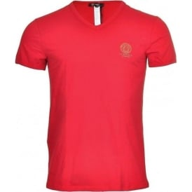 Versace Iconic Stretch Cotton V-Neck T-Shirt, Red