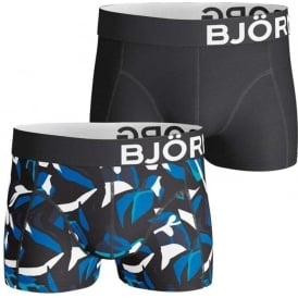 Bjorn Borg 2 Pack Graphic Short Shorts, Black / Leaf Print