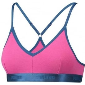 PUMA Women Cotton Modal Stretch High-Shine Triangle Bralette, Pink/Blue