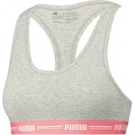 PUMA Women Cotton Modal Stretch Iconic Bralette, Light Grey Melange / Hot Coral