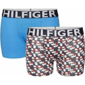 Tommy Hilfiger Boys 2 Pack Boxer Trunk, Tango Red Stars / Brilliant Blue