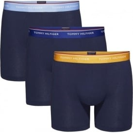Tommy Hilfiger Premium Essential Stretch Cotton 3-Pack Boxer Brief, Blue with Vista Blue/Apricot/Sodalite Blue