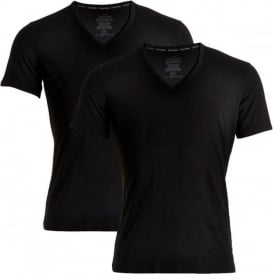Calvin Klein ID Cotton Short Sleeved Slim Fit V-Neck T-Shirt 2-Pack, Black