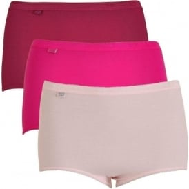 Sloggi Women Basic H 3 Pack Maxi Brief, Pink