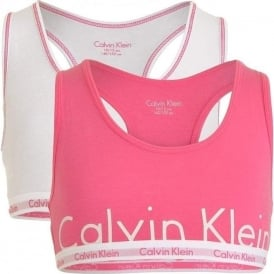 Calvin Klein GIRLS 2 Pack Modern Cotton Bralette, Bubble Gum Pink Logo / White