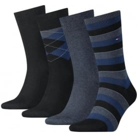 Tommy Hilfiger 4 Pack Tin Giftbox Cotton Logo Socks, Dark Navy