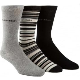 Calvin Klein 3 Pack Multi Stripe Socks Gift Box, Black / Grey