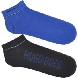 HUGO BOSS 2 Pack Sneaker Cotton Logo Socks, Blue / Dark Blue