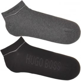 HUGO BOSS 2 Pack Sneaker Cotton Logo Socks, Black / Grey