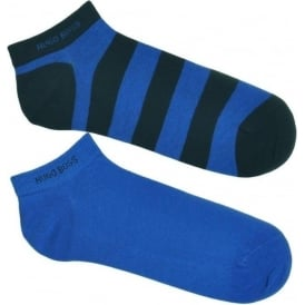 HUGO BOSS 2 Pack Sneaker Cotton Logo Socks, Navy / Stripe