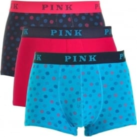 Thomas Pink Cotton Stretch 3 Pack Trunk KITCHENER, Navy / Cerise / Turquoise Geo Print