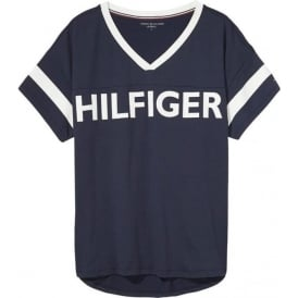 Tommy Hilfiger Women Flag Microfiber Short Sleeved V-Neck T-Shirt, Navy