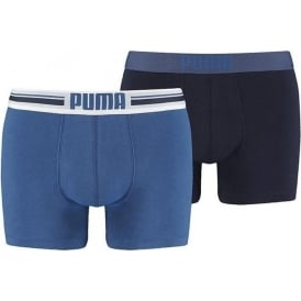 PUMA Cotton Stretch Placed Logo 2-Pack Boxers, Blue / Navy