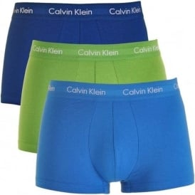 Calvin Klein Cotton Stretch 3 Pack Low Rise Trunk, Navy/Green/Blue