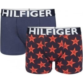 Tommy Hilfiger Boys 2 Pack Boxer Trunk Stars, Scooter Red / Navy Blazer
