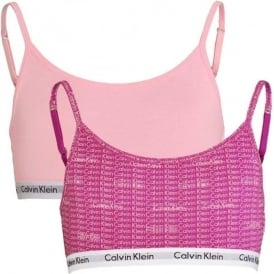 Calvin Klein GIRLS 2 Pack Modern Cotton String Bralette, Repeat Logo Wild Aster / Unique
