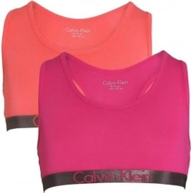 Calvin Klein GIRLS 2 Pack Customized Stretch Bralette, Calypso Coral / Lilac Rose