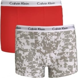 Calvin Klein Boys 2 Pack Modern Cotton Boxer Trunk, Marble Stripe White / Mars Red