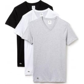 Lacoste Essentials Supima Cotton 3-Pack V-Neck Slim Fit T-Shirt, Black/Grey/White
