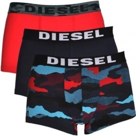 DIESEL 3-Pack Boxer Trunk UMBX-Shawn, Red / Navy / Camo Print