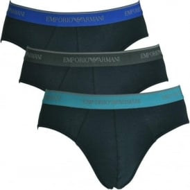 Emporio Armani Fashion Multipack Stretch Cotton 3-Pack Brief, Marine with Blue / Teal / Grey