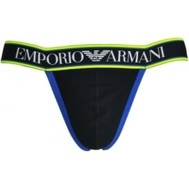Emporio Armani Magnum Style Experience Push Up Jockstrap, Black With Blue / Yellow Trim