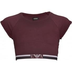 Emporio Armani Women Visibility Pop Lines Stretch Cotton Short Top, Aubergine
