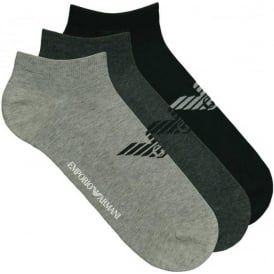 Emporio Armani 3 Pack Big Eagle Logo Trainer Socks, Black & Greys