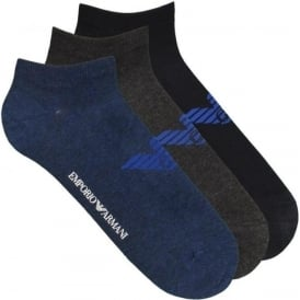 Emporio Armani 3 Pack Big Eagle Logo Trainer Socks, Blue / Navy / Grey