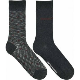 Emporio Armani 2 Pack Stretch Cotton Short Socks, Dark Grey Melange