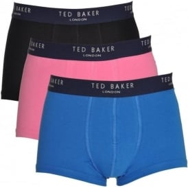 TED BAKER Cotton Stretch 3-Pack Boxer Trunk, Black/Pink/Blue