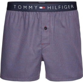 Tommy Hilfiger Icon Woven Boxer Short, Blue Ashes Houndstooth
