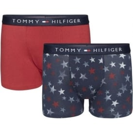 Tommy Hilfiger Boys 2 Pack Icon Boxer Trunk, Navy Blazer Stars / Scooter Red