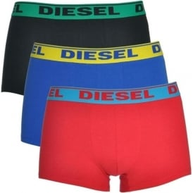 DIESEL Fresh & Bright 3-Pack Boxer Trunk UMBX-Shawn, Red / Blue / Black