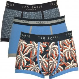 TED BAKER KILSEY Cotton Stretch 3-Pack Boxer Trunk, Blue / Print / Palm