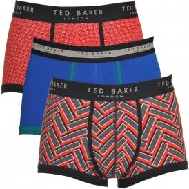 TED BAKER RENIC Cotton Stretch 3-Pack Boxer Trunk, Blue / Red Print / Chevron Print