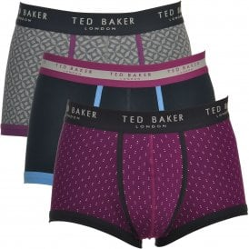 TED BAKER OMINIC Cotton Stretch 3-Pack Boxer Trunk, Navy / Purple Print / Multi Print